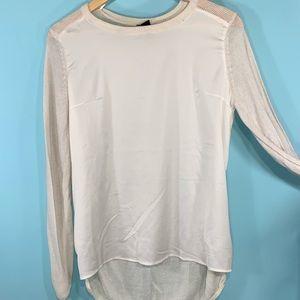 H&M summer satin and knit sweater ivory.  Sz.  M